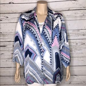 Alfred Dunner 22W Geometric Button Blouse & Tank